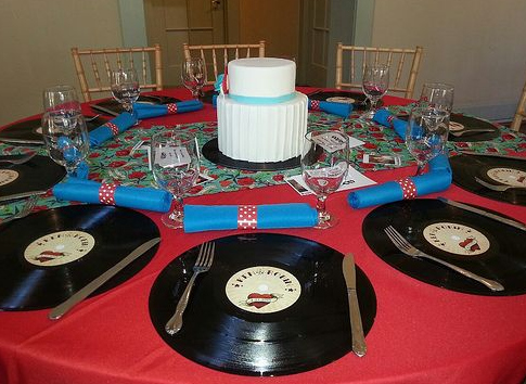 disco vinilo decoración bodas